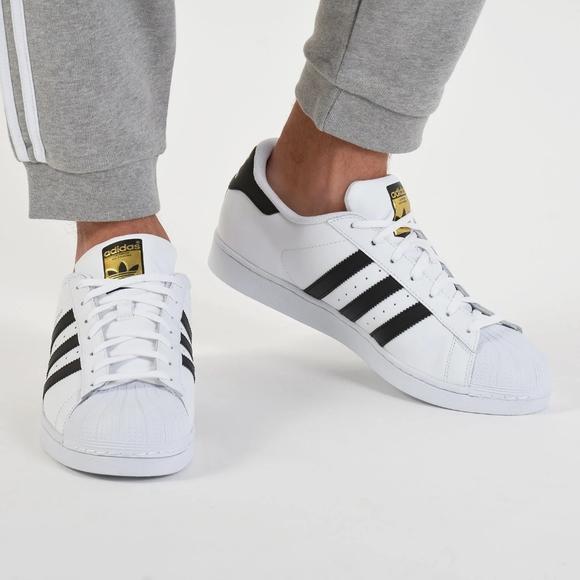 Adidas Super Star Mens White and Black Strip Shoes